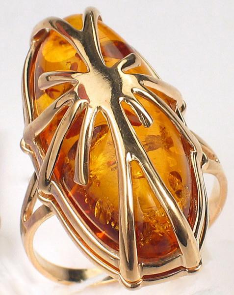 Золотое кольцо с янтарем NEW GOLD 104000192953ya*: красное и розовое золото,  янтарь — купить в интернет-магазине ... | 600x477